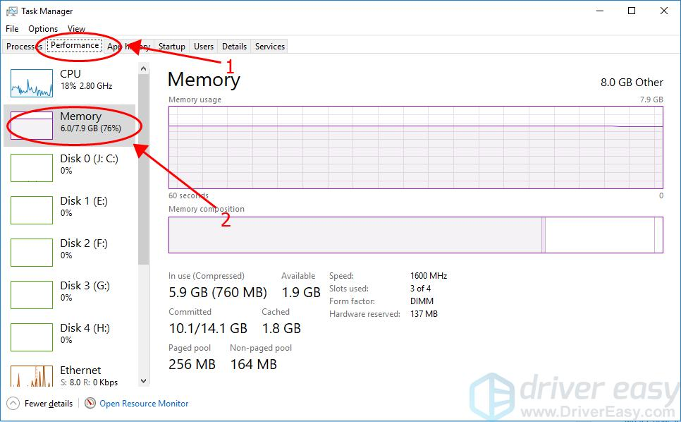 check ram using Task Manager