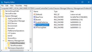 superfetch in registry editor path