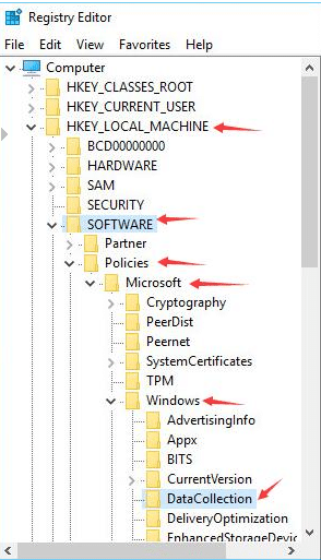 Using Registry Editor to Fix Microsoft compatibility telemetry high disk 1